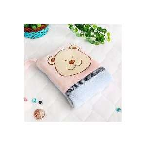 [Pink Bear] Fleece Throw Blanket Pillow Cushion / Travel