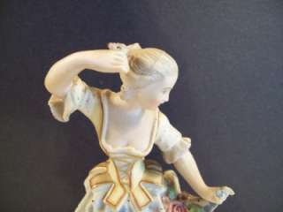PORCELAIN FIGURINE COUPLE MAN PLAYING FLUTE WOMAN DANCING