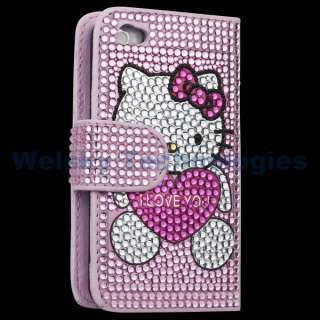 Bling Crystal Hello kitty Flip Hard leather Case for iPhone 4S 4 4G