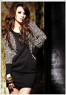 Fashion Womens O Neck Leopard Hot Chip Long sleeved Lady Dress 6458
