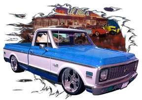 You are bidding on 1 1972 Blue Chevy Pickup Truck c Custom Hot Rod