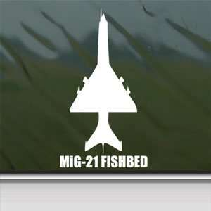MiG 21 FISHBED White Sticker Military Soldier Laptop Vinyl
