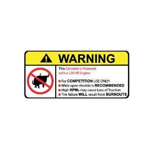 Corvette LS9 V8 No Bull, Warning decal, sticker