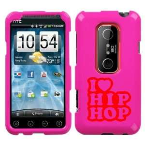 HTC EVO 3D RED I LOVE HIP HOP ON A PINK HARD CASE COVER