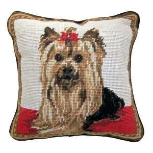 Yorkie Yorkshire Terrier Dog Needlepoint Throw Pillow 10