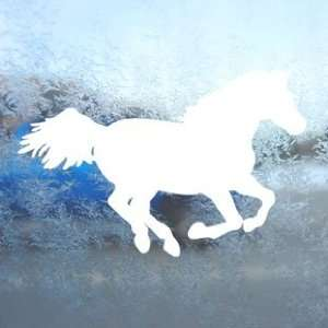 Western RUNNING HORSE White Decal Laptop Window White