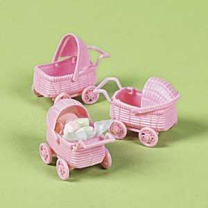 Lot of 6 Baby Girl Pink Baby Carriage Shower Party Favors