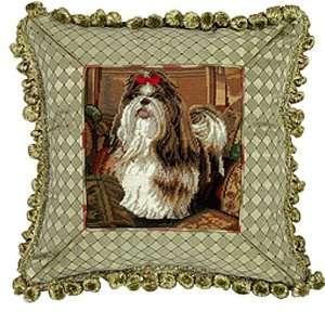 NEW BROWN WHITE SHIH TZU DOG PETIT POINT NEEDLEPOINT FRINGED PILLOW 14