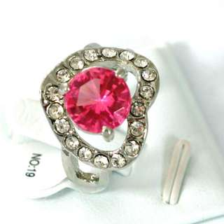 r7119 Size 9 Wedding Heart Love 18K GP Pink Gemstone CZ Ring Fashion