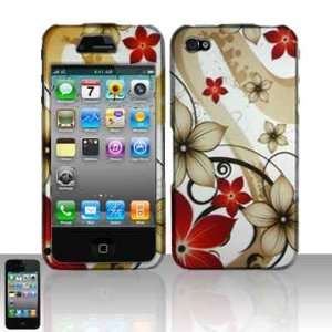 Brown Red Daisy Flower Rubberized Snap on Hard Skin Shell