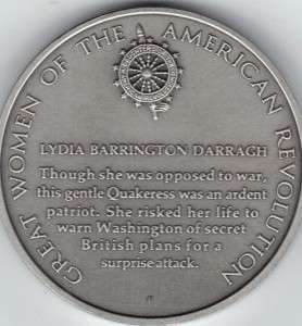 Women American Revolution Franklin Mint Pewter Medal Lydia Barrington