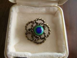 Rare Peacock Eye Pin ~ Bohemian Art Nouveau Deco Czech Foiled Glass