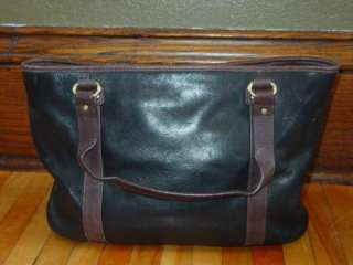 LARGE STONE MOUNTAIN BLACK BROWN LEATHER TOTE HANDBAG PURSE SATCHEL