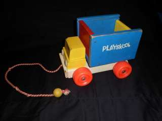 OLD vtg Antique Wooden PLAYSKOOL DUMP TRUCK Pull along toy Collectible
