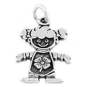 Sterling Silver One Sided Girl with Lucky Clover Charm Jewelry