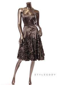 NWT $ 148 JESSICA SIMPSON Pleated Empire Waist Strapless Dress Taupe