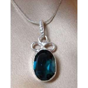 Blue Zircon Quartz Vintage Style .925 Sterling Silver & White Copper