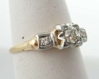 Estate 1/4ct Genuine Diamonds Solid 14k Two Tone Gold Ring