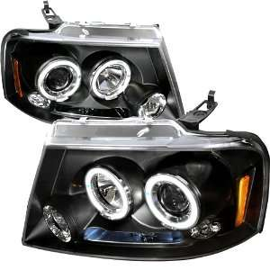 04 08 FORD F150 DUAL CCFL HALO LED BLACK PROJECTOR HEAD LIGHTS