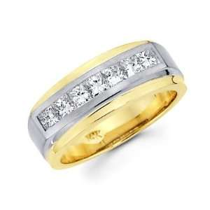 Size  5.5   Princess Cut Channel Set 14k Two Tone Gold Mens Diamond