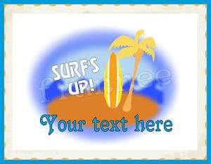 BEACH THEME SURFS UP PARTY BIRTHDAY EDIBLE CAKE IMAGE