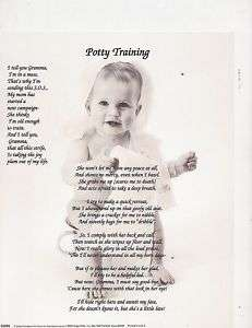 POTTY TRAINING POEM PERSONALIZED NAME PRINT BABY STORY