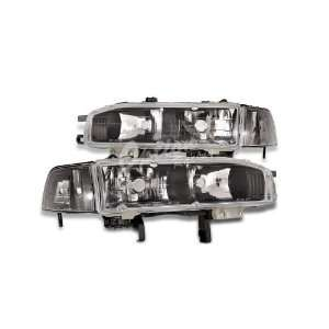 Euro Headlight Black 90 93 Honda Accord Automotive