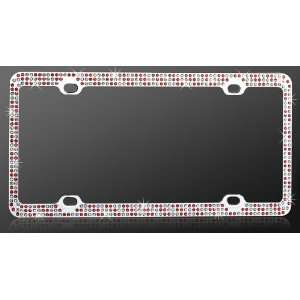 Chrome Metal Car License Plate Frame with Triple Row Red