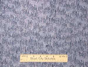 Christmas Blue Pine Tree Forest Silver Glitter Holiday Pines Cotton