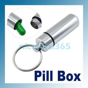 Mini Pill Box Case Waterproof Aluminum Bottle Cache Drug Holder