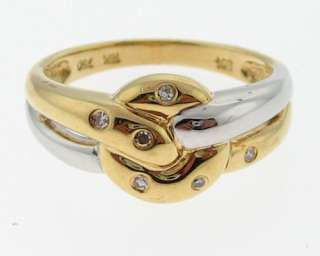Solid 18k Two Tone Gold Ring Genuine Diamonds 750 Band