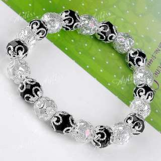 AB Clear Black Faceted Crystal Glass Ball Spacer Beads Bracelet