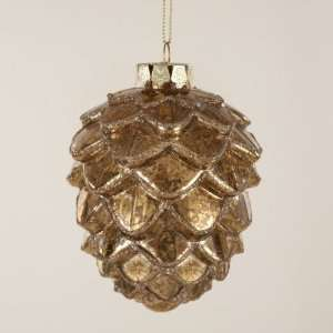 Club Pack of 24 In the Birches Gold Pine Cone Glass Christmas