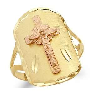 Size  12   14k Yellow n Rose Two Tone Gold Big Cross