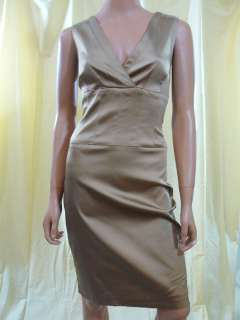330 Kay Unger Gold Satin Sheath Cocktail Dress 8 NEW