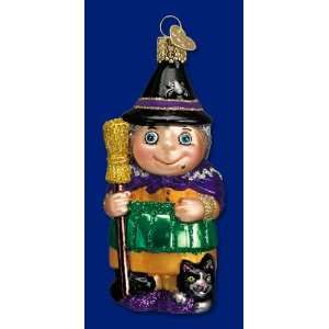 Old World Christmas Halloween Witch with Cat Ornament