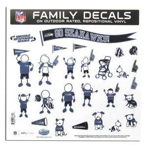 Seattle Seahawks 11in x 11in Family Car Decal Sheet