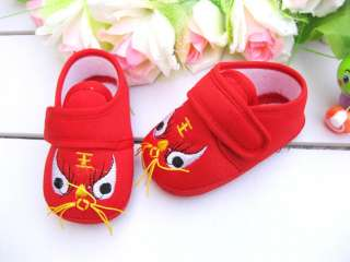 New infant/Baby soft crib tiger shoes, red, 9 12 months