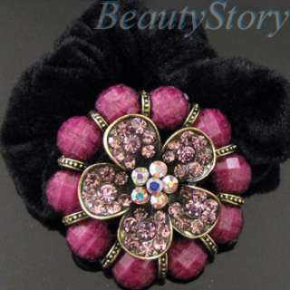Item  rhinestone crystals flower hair scrunchie ponytail