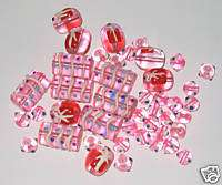 50 Chunky Pink Gift Box Swirl Polka Dot Glass Beads