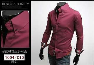 Casual Slim fit Stylish Dress Shirt M L XL XXL 3 Colors h34