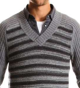 Exchange men Links Stitch V neck sweater jumper gray pull over L