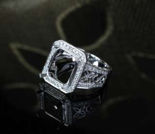10x12mm EMERALD Cut SOLID 14K WHITE GOLD .52ct DIAMOND Engagement RING