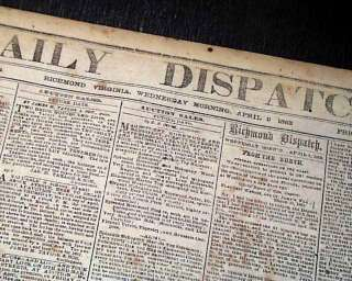 CONFEDERATE Battle of Shiloh 1862 Civil War Newspaper *
