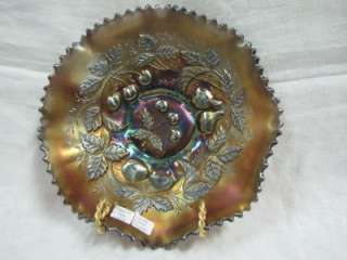 Northwood Amethyst Three Fruits Carnival Glass Bowl