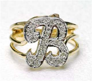 Vintage 14k yellow Gold & Diamond Initial B ladies ring