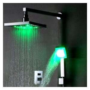 Chrome Wall mount LED Shower Faucet (8 inch Rainfall