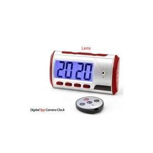 Digital Alarm Clock with Spy Camera + Motion Sensor Red