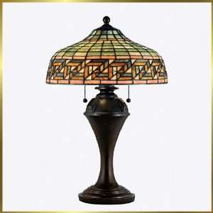 Tiffany Table Lamp, QZTF128TVA, 2 lights, Antique Bronze, 15 wide X