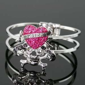 Bangle Bracelet Pink Rhinestones Crystal Heart Skull